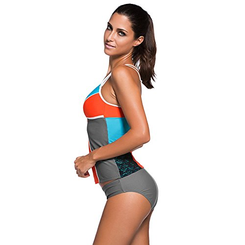 Erica Mujeres de talla grande Bikinis Contraste Patchwork Dos piezas Set Swimsuit Wireless Padded Bra as figure