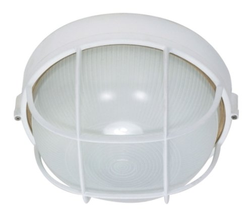 Nuvo Lighting 60/518 Bulkhead 1-Light Round Cage 60W A19, Semi Gloss White