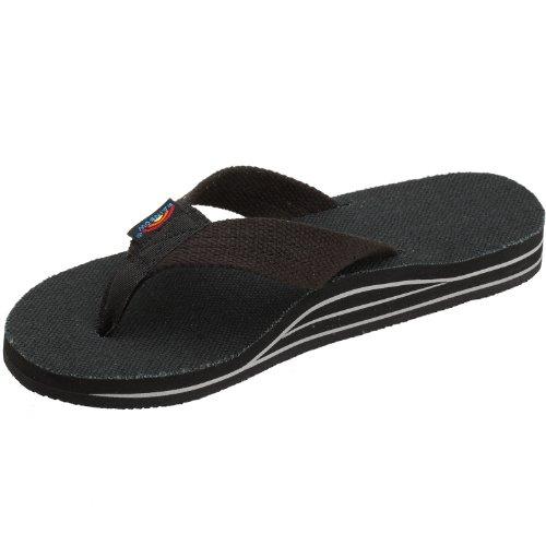 Rainbow Sandals Women's Hemp Double Stack Wide Strap Black Size Size 11 (11.75