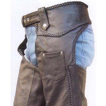 Unisex Premium Buffalo Leather Braided Motorcycle Chaps w inner-lining, Original YKK silver hardware
