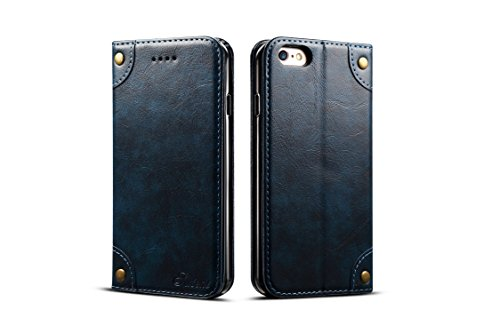 (Case Compatible with iPhone 6s/6 Apple Wallet,Blue Leather Retro Texture Folio Card Holder Kickstand Protective Durable Cover Shell for Men Boy Women Girl)