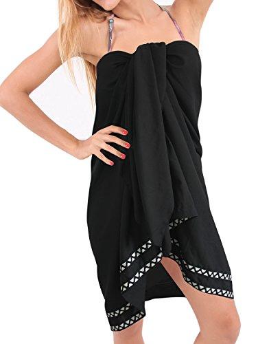 La Leela morbido rayon bikini sarong artistico involucro nero coprire sarong 78x42 pollici