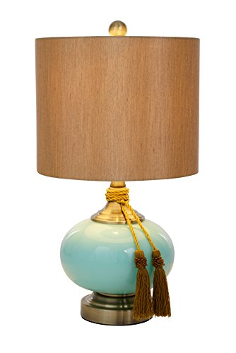 Catalina Lighting 20636-000 Lexi Painted Glass Table Lamp with Tassels and Brown Faux Silk Drum Shade, Medium, Blue