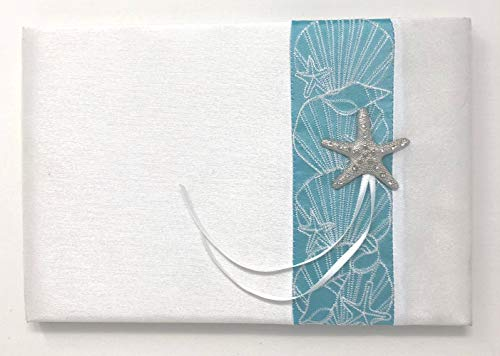 Book Guest Ribbon Wedding (Beach theme wedding guestbook with turquoise accent ribbon, Starfish emblem and white ribbons. Perfect for beach weddings or ocean, starfish themed weddings. Matching ring bearer pillow also available)