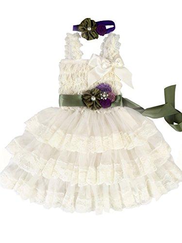 (Rosy Kids Girl's Vintage Chic Flower Girl Lace Dress Flower Sash Hair Flower, Ivory Dress Olive Green Sash Purple Rose, S)