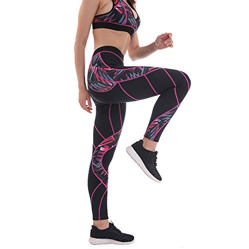Weight Loss Pants - Neoprene Pants Sauna Sweat Pants Leggings, Body Shaper Hot Thermo Capris Fat Burner (Fuchsia Pattern 01, XL)