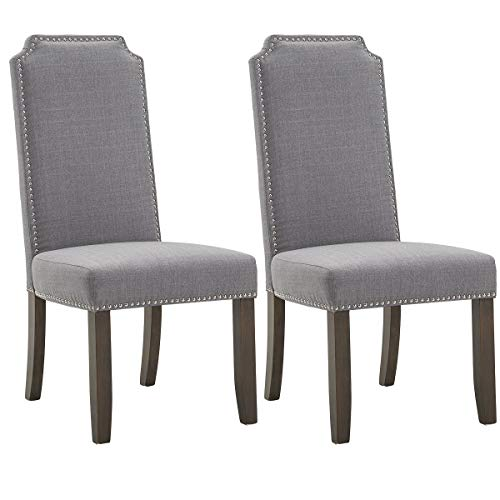 Merax Fabric Dining Chairs Set of 2 with Solid Wood Legs and Nailhead Trim Grey-1