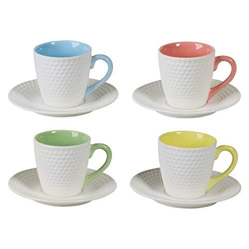 DRH BIA Geo Espresso Cups and Saucers, Set of 4 x 100ml