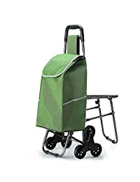 Carry-on Baggage Portable Climbing Shopping cart, Old-Fashioned Chair, Small cart, Trolley, Folding, Hand-Drawn cart (Color : Green)