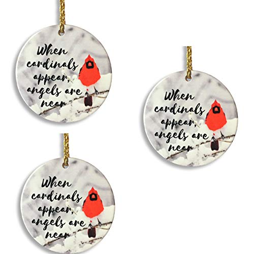 (BANBERRY DESIGNS Memorial Cardinal Ornament - When Cardinals Appear, Angels are Near Saying - Winter Cardinal Remembrance Ornament - Set of 3)