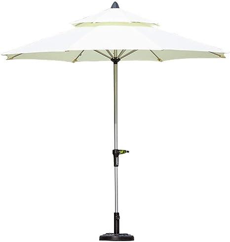 LNDDP Parasoles Ø 9 pies/2.7m Sombrilla Aluminio para Patio con jardín al Aire Libre con Cubierta poliéster Blanco, Sombrilla Mesa Mercado portátil Grande, Base (15 kg) incluida: Amazon.es: Deportes y aire libre