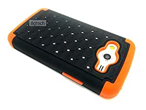 8gtech BLACK HYBRID DIAMOND STUDDED RHINESTONE BLING ORANGE SILICONE CASE FOR Samsung Galaxy Core LTE G386F