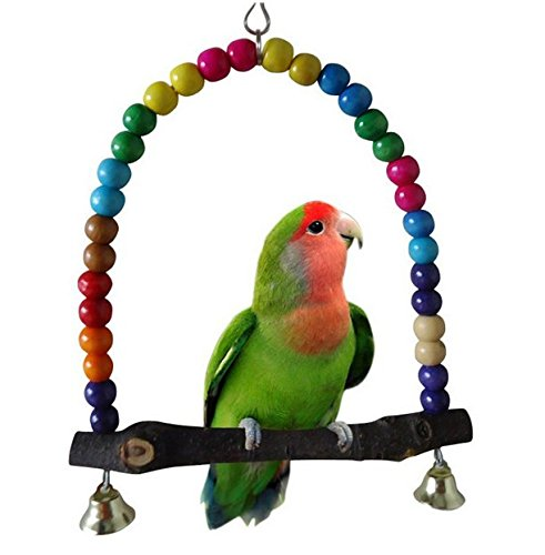 Swing Bird Toy - Peety Pets Parrot Standing Swing Hanging Toys Birds Colorful Wooden Bead Cage Holder Acessories With Bells (S)