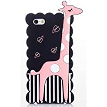 JBG Black iphone 4/4S Cartoon Giraffe Style Soft Silicone Case Cover Protective Skin Compatible for Apple iPhone 4 4G 4S