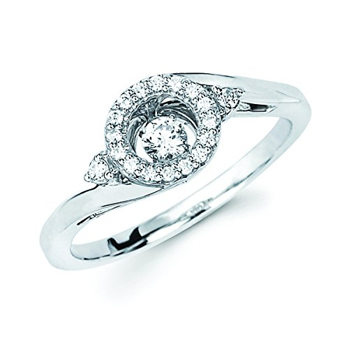 (Brilliance in Motion Sterling Silver Dancing Diamond Circle Halo Ring (1/5 cttw. I Color, I1)