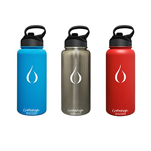 refresh2go 32oz Excursion Vacuum Insulated Stainless Steel Filtered Water Bottle, Blue (11020-BL) by Refresh2go (Image #3)