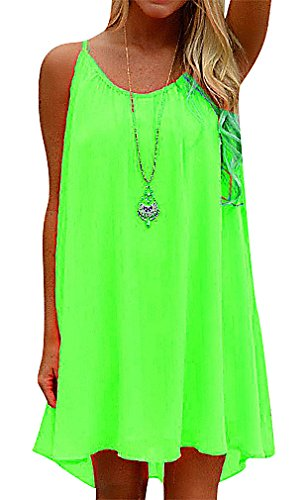 US&R, Women's Fancy Neon Color Shoulder Straps Loose Waistless Mini Beach Dress, FlouresenceGreen 4 ,Manufacturer(S) Silk Voile Dress