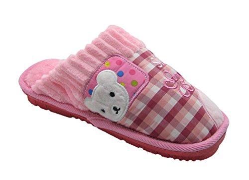 Fashion Blue Womens Adorable Cheery Bear House Platform Scuffs Slippers w/Plaid Polka Dot Pattern Pink Akqnv