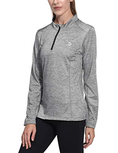 (Baleaf Women's Thermal Running Shirts Long Sleeve 1/4 Zip Pullover Grey M)