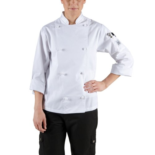 Chef Revival LJ028 Poly Cotton Knife and Steel Ladies Long Sleeve Jacket with Cloth Knot Buttons, 5X-Large, White (Clothing Revival Chef)