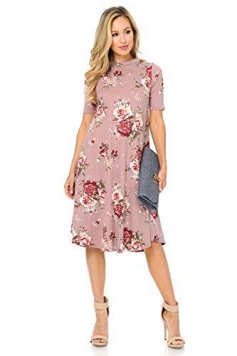 iconic luxe Women's Mock Neck Trapeze Midi Dress Large Floral Mauve Blush