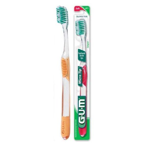 GUM 471P Toothbrush Oral Adult Gum Micro Tip, Compact Head Dome-Trip Bristle, Micro Feathered (Pack of 12)