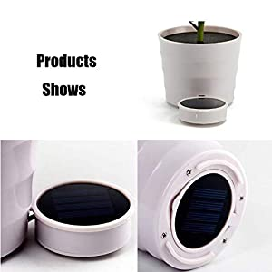Fastest Shipping from USA, Solar Rose Flower Lights, LED Artificial Rose Pot Flower Bonsai LED Lamp Home Garden Decoration (Red) 5