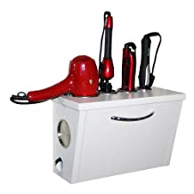 Curling Iron, Blow Dryer, and Flat Iron Holder - Wall Mount (White)