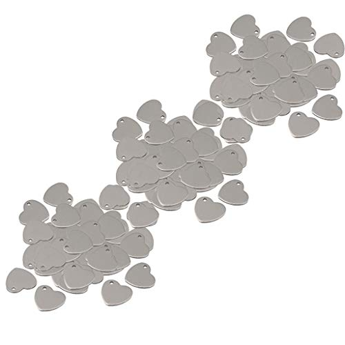 - SM SunniMix 150 Packs Silver Tone Stainless Steel Blank Stamping Tags Heart Love Charm Pendant 14mm