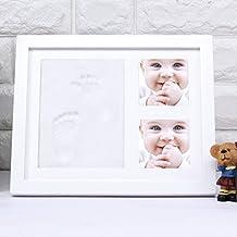Baby Handprint Footprint Photo Frame Kit with Three Lattice for Boys Girls Pets as Gifts Keepsakes 11x 9 x 1 inches (Medium)