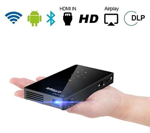 PTVDISPLAY Smart Pocket Mini Projector, 1080P WIFI Home Theater Pico Rechargeable Video DLP Projector Support Bluetooth HDMI USB TF Card for Home Cinema , Wireless Display for Iphone and Android Phone