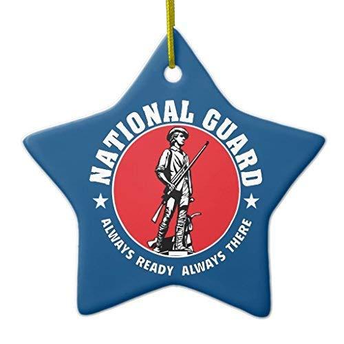 659ParkerRob Christmas Ornaments, Army National Guard Historic Logo Star Ceramic Christmas Ornaments for Christmas Tree Decoration,, Keepsake,New Couples ()