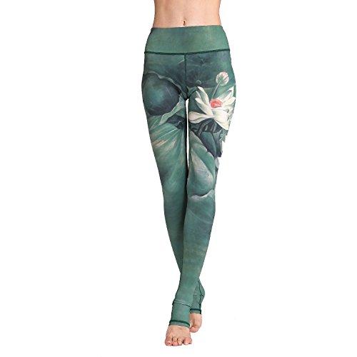 ercolored Floral Yoga Stirrup Extra Long Pants Printed High Waist Yoga Leggings Over The Heel Pilates Wearing Meditation Pants Lotus ()