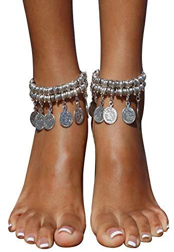 Belly Dancing Tribal (Bienvenu Hot Boho Silver Coin Anklet Bracelet Bohemian Tassel Barefoot Sandals Chain Jewelry)