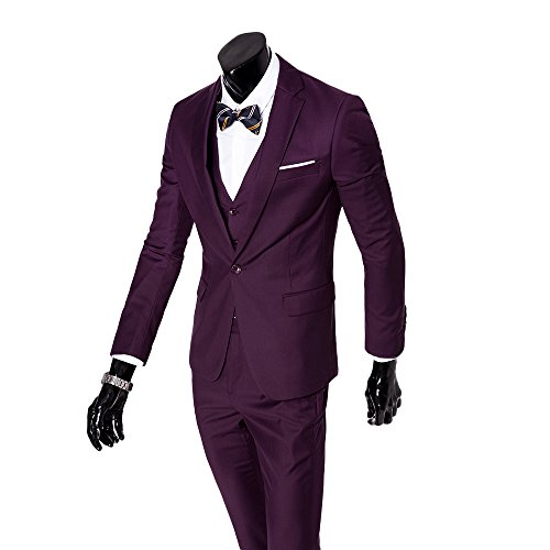 Mens 3-Piece Suit Notched Lapel One Button Slim Fit Formal Jacket Vest Pants Set