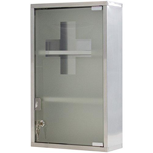 Medizinschrank Arzneischrank Erste Hilfe Schrank 30 x 13 x 50 cm - mit 3 Fächern und Glas-Tür zum Abschließen mit 2 Schlüsseln für kindersichere Medikamenten Lagerung