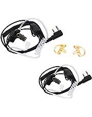 HYSHIKRA Radio Earpiece Security 2 Pin Acoustic Tube Headset for Baofeng UV5R BF-888S UV82 Kenwood TK-360 TK-270 TK-250 TK-3107 Walkie Talkie(2Packs)