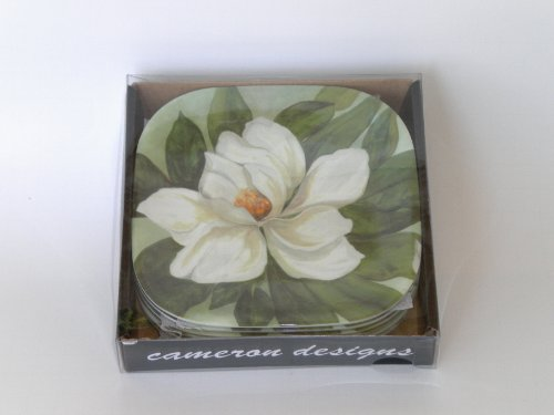 Southern Magnolia Flower Melamine Appetizer Cocktail Tapas Plates Boxed Set of Six