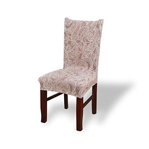 Price comparison product image Fashion·LIFE 2 PC Dining Chair Covers Stretch Trellis Print Chair Cover Removable Washable Seat Covers Dining Chairs Chair Protective Covers, Red-Brown