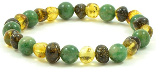 Amber Bracelet for Adults Mixed with African Jade Beads - 7 inches (18 cm) - Green Color - Made on Elastic Band - (7 inches (18 cm), Green Amber / African Jade) {0053}