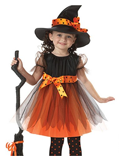 Costumes Witch Fairytale (Greencherry Baby Girls Child Witch Fairytale Corset Dress Costume with Hat)
