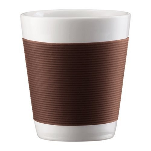 Bodum Canteen Porcelain Double Wall Espresso Cup with Silicone Grip, Brown, Set of 2