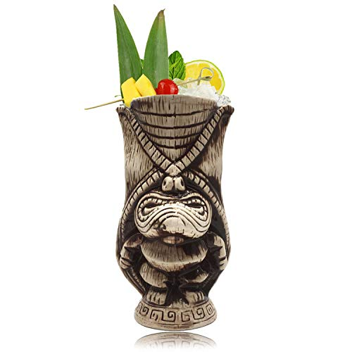 Tiki Cocktail - Tiki Mugs - Ceramic Tiki Mug 13.5oz / 400ml, Kane King Cocktail Mug for Mai Tai, Punch, Pina Colada, and Tropical bar Drinks - TIKI0038 (13.5oz / 400ml Butt)