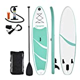 Homgrace Inflatable SUP/Kayak Surfboards Stand up Paddle Board with Carrying Storage Bag Manual Pump Kit Removable Fin All Skill Levels (Mint Green)