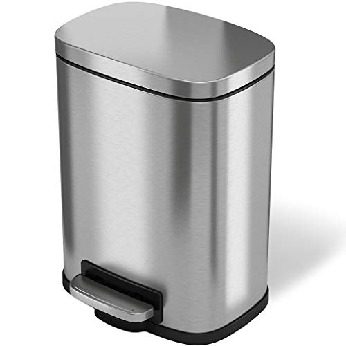 Fingerprint-Proof Stainless Steel Wastebasket Office Restroom Step iTouchless SoftStep 1.32 Gallon Slim Pedal Bathroom Trash Can with Removable Inner Bucket 1.32 Gal Tight Spaces