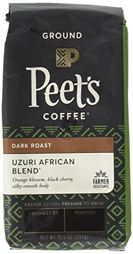 Peet's Coffee, People & Planet, Uzuri African Blend, Ground Coffee, 10.5 oz. Bag, Sustainable Coffee from Rwanda, Kenya, Tanzania & Ethiopia, Notes of Black Cherry, with a Silky Smooth Body