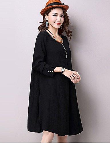 PU&PU Robe Aux femmes Ample Vintage,Couleur Pleine Col Arrondi Mi-long Coton , yellow-l , yellow-l