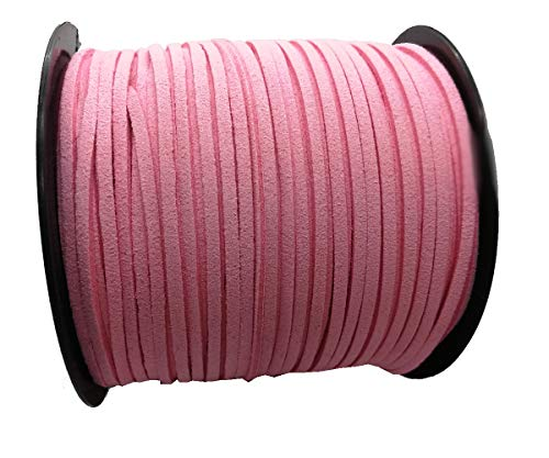 (Pamir Tong Strong Suede Leather Lace 100 Yards 2.6mm Faux Leather Cord for Jewelry Making Tassels Bracelet Necklace DIY (Pink))