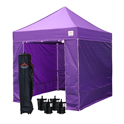 UNIQUECANOPY 8x8 Canopy Tents for Parties Portable Instant Folded Commercial Popup Shelter, with 4 Zippered Side Walls and Wheeled Carrying Bag Bonus 4 Sandbags Purple