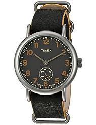 Timex Mens TW2P86700 Weekender 40 Mini-Sweep Titanium-Tone/Black Leather Slip-Thru Strap Watch